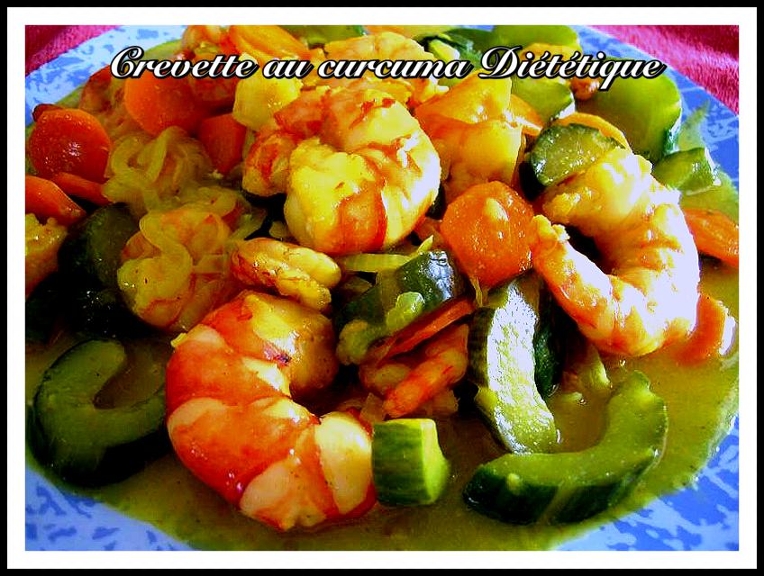 Crevettes au curcuma diététique